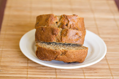photo of three slices of banana nut bread on a plate