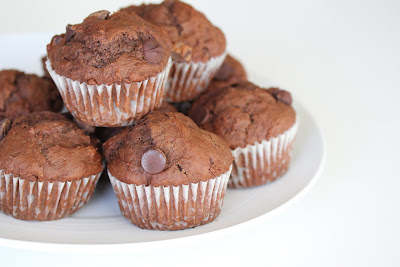 Chocolate Chunk Muffins on a plate
