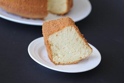 photo of a piece of vanilla chiffon cake