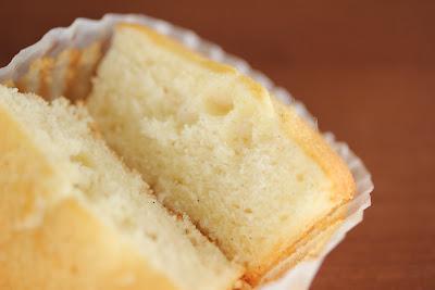close-up photo of a cupcake split in half