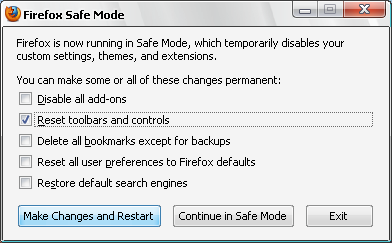 Firefox reset toolbars and controls