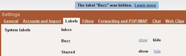 Google Buzz Hide label