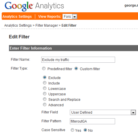 Google Analytics exclude filter