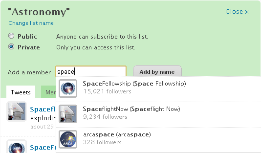Brizzly add users to lists