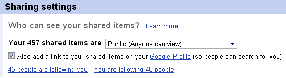 Sharing setting in Google Reader