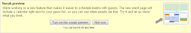 Google Calendar turn on the sneak preview