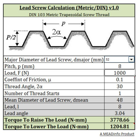 Download Lead Screw Calculator Metric DIN 103