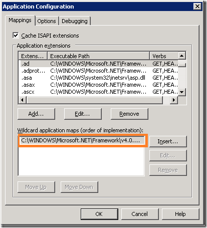 "Setting ""aspnet_isapi.dll"" as a wildcard application map"