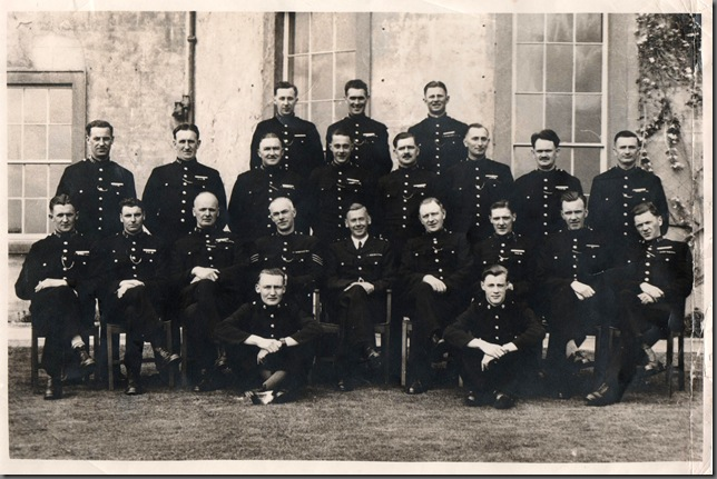Constables' Refresher Course at Harperley Hall circa 1948/49. <br /> Middle Row – extreme left, the Nattrass Brothers, 3rd left Cecil Crawford, 3rd. from right George Cameron, 2nd from right ? Elwood.<br />Front Row -  second left Ray Smith, 4th, 5th & 6th. are staff members Jim McNab, Roy Atkinson (Commandant), George Morecambe, extreme right Jack Bogan,<br />Seated – Cadets Stan Husband and Ken Thurlbeck (Staff).             (Photo courtesy of Ken Thulbeck)