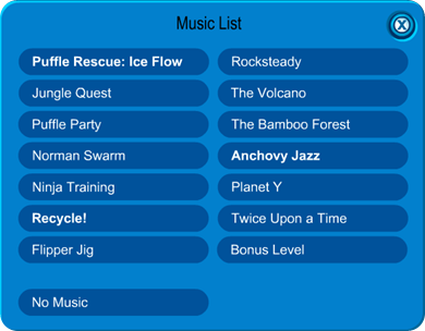 Igloo Music List in Club Penguin :)