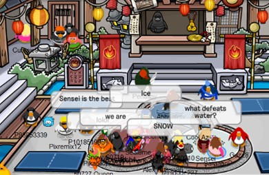 Sensei in Fire Outfit Club Penguin