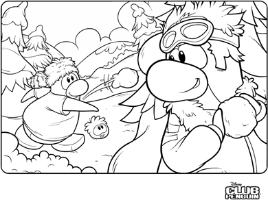 saraapril in club penguin forest snowball fight coloring page