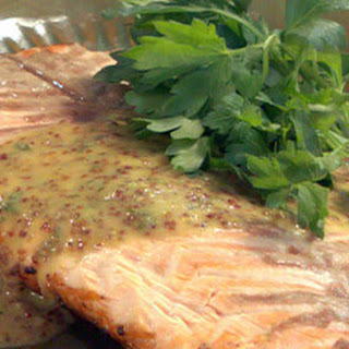 Grilled Salmon Fillet with Honey-Mustard Sauce.