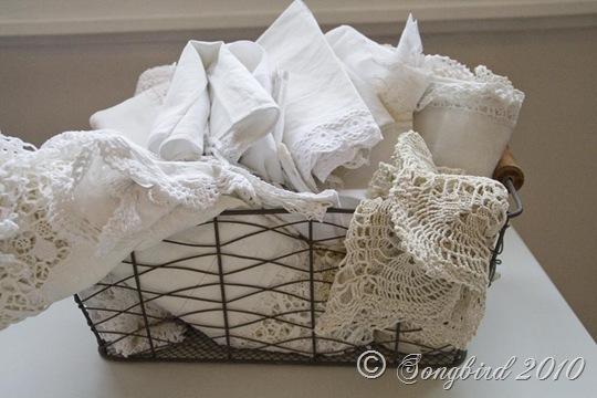 Iron Basket with White Linens 2