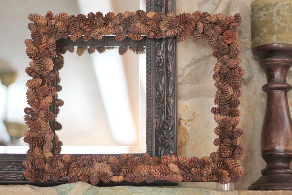 It Only Took 3 Blisters And Tons Of Pine Cones To Make My Nature Frame Is Going Be Part Fall Mantel Decor