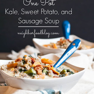 One Pot Kale, Sweet Potato, and Sausage Soup