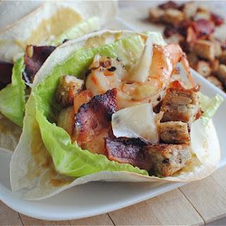 Double Decker Shrimp Caesar Salad Tacos
