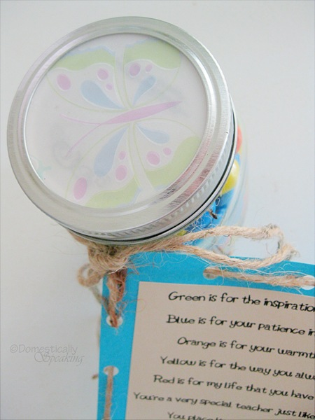 Add decorative paper to the top of the mason jar