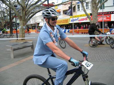 Well dressed rider in criterium race