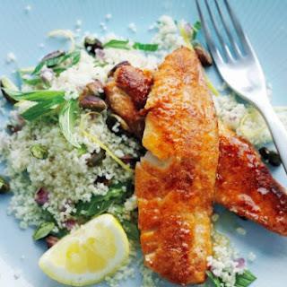 Spiced Fried Fish With Lemon Pistachio Couscous.