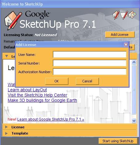 برنامج sketchup 7 1 license