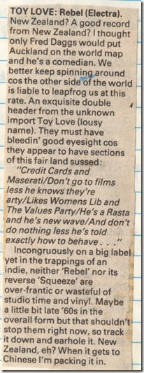 Toy Love NME review 1979