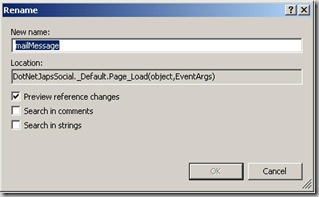 RenameDilaog option in visual web developer 2010