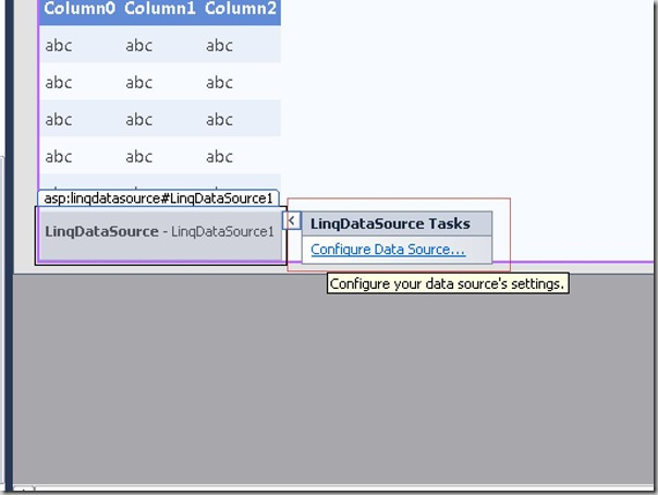 Configuring Linq Data Source