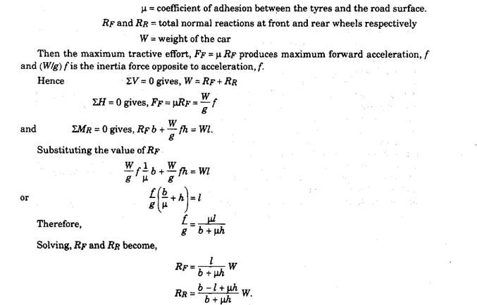Calculation of Maximum Acceleration, Maximum Tractive Effort