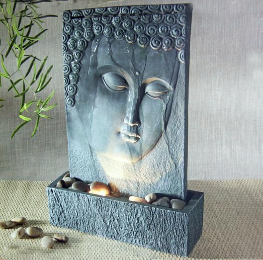 brunnen zimmerbrunnen buddha mit beleuchtung feng shui ebay. Black Bedroom Furniture Sets. Home Design Ideas
