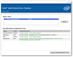 Intel SSD Toolbox - System Configuration Tuner