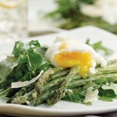 Asparagus Salad Topped Poached Eggs