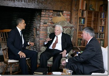 President Barack Obama meeting with Billy Graham and Franklin Graham