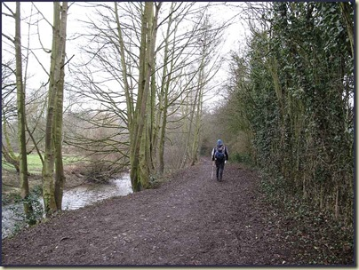 John Knight pushes on along the banks of the River Bollin