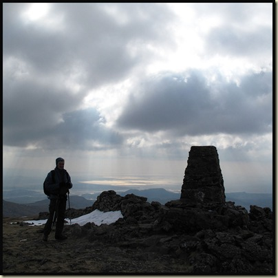 On the 782 metre summit of Moel Hebog