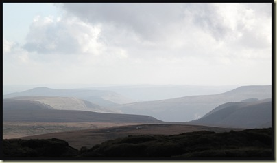The view south towards the High Peak area from Bleaklow Hill