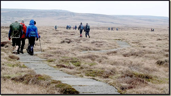 The paved Pennine Way snakes its way to the Snake Pass
