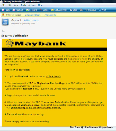 Maybank's Fraud eMail