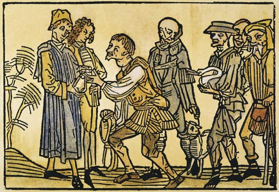 SERFS PAYING TAXES.  Serfs paying annual taxes to their lord in cash and with livestock: German woodcut, 15th century.⾰ĥ