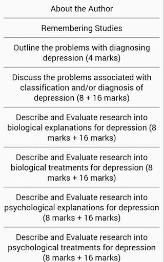 AQA Psychology: Depression