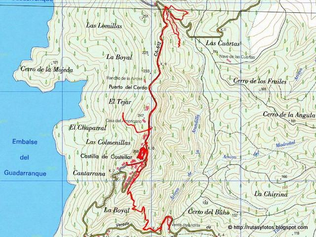 Mapa Calzada Dehesa Boyal - Castillo de Castellar