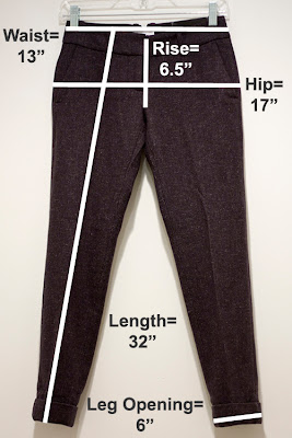 Ann Taylor Loft petite pants measurements