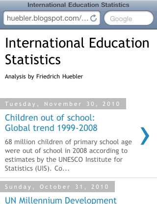 Screenshot of mobile version of International Education Statistics blog