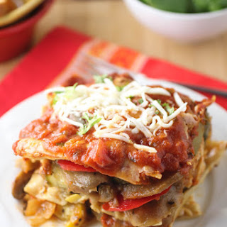 Roasted Vegetable Lasagna with Roasted Red Pepper Sauce.
