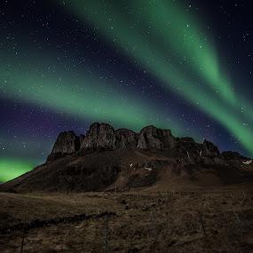 Mountain Þyrill by Guðmundur Hjörtur - Landscapes Starscapes ( iceland, mountain, northern lights )
