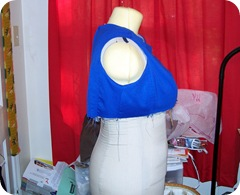 Upper bodice attached to lining