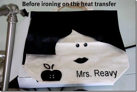 before ironing on the heat transfer