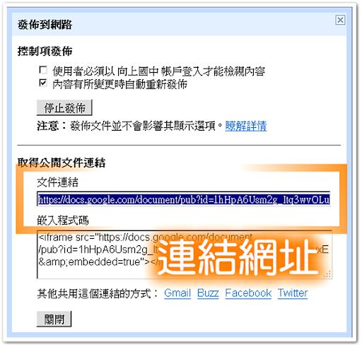 發佈文件後取得連結網址 & 嵌入程式碼