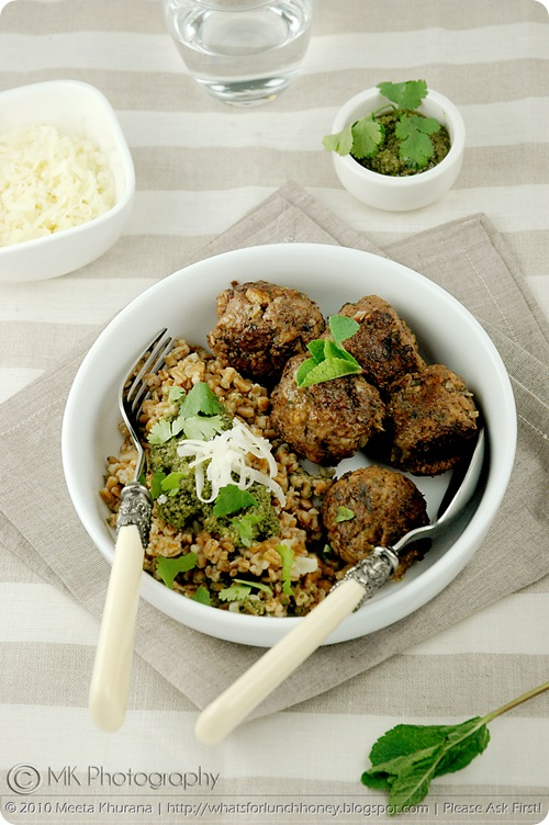 Mint Lamb Meatballs with Spelt Risotto Coriander Pesto (01) by MeetaK