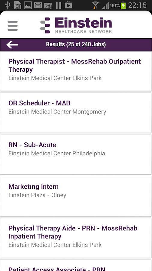 Einstein Health Network Jobs - screenshot